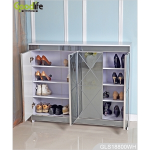 Luxury mirrored wooden shoes storage cabinet for living room GLS18800