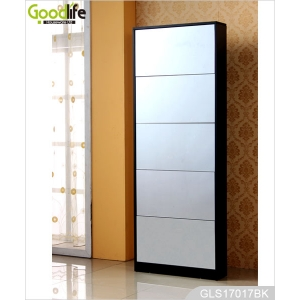 MDF melamine mirrored wooden shoe cabinet for family GLS17017