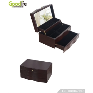 Magic open wood jewelry box for girls GLD08067