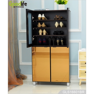 Middle East golden color mirror shoe storage cabinet with doors GLS16601
