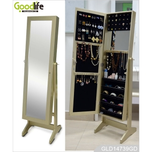Middle East hot style wooden jewelry storage cabinet with dressing mirror in gold color GLD14739