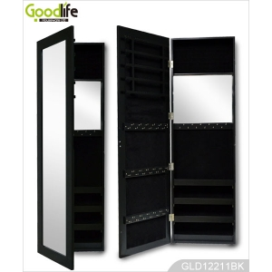Mirrored Wall Hanging Wooden Jewelry Storage Cabinet in Black GLD12211