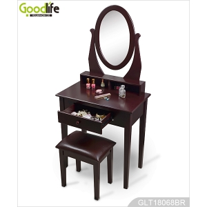 Mirrored Wooden Dressing Table with seat for Bedroom GLT18068