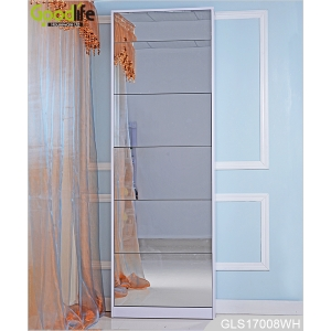 Modern style shoe cabinet with mirror with 5 racks GLS17008