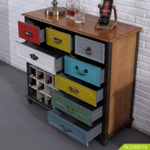 Multi function home recycle furniture for storage books red wine luxury modern dresser lockers GLD90019