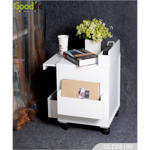 Multi-function table with wheeled body, foldable panel and magazine holder GLD08180