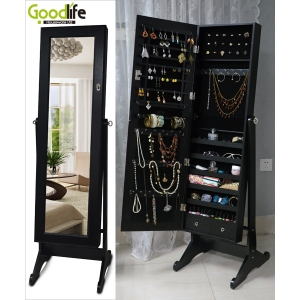 Multi-function wooden floor mirror jewelry armoire GLD13318