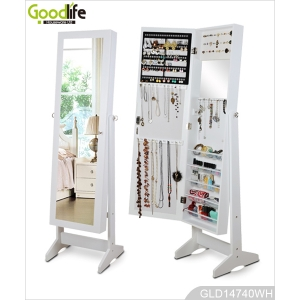 Multiple function wooden mirrored jewelry cabinet with transparent storage trays inside GLD14740