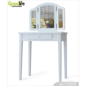 New arrival wood dressing table with 3 foldable mirrors GLT12879