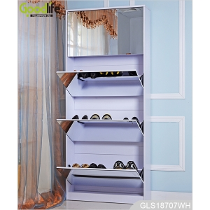 New design for European large shoes storage full length mirrored wooden shoe cabinet GLS18707