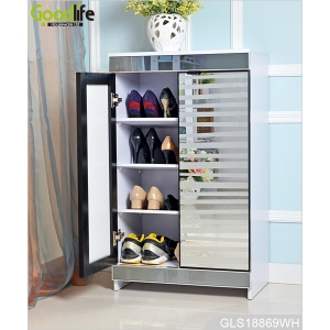 New design for ebay Amazon furniture wooden shoe storage cabinet with glass mirror GLS18869