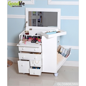 New design wheeled wooden makeup cabinet with mirror in white GLD08082