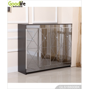 New design wooden shoe storage cabinet with grey mirror factory wholesale GLS18800