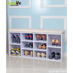 New shoe designs, living room, wooden shoe storage bench.