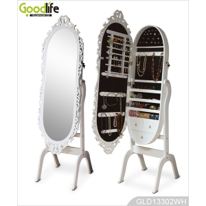 Oval mirror jewelry cabinet with decoration frame