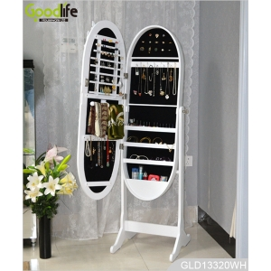 Oval mirrored jewelry storage cabinet with dressing mirror GLD13220