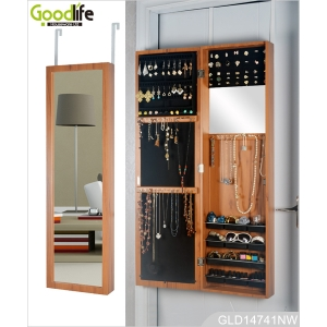 Over door full length mirrored jewelry armoire GLD14741