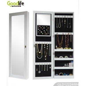 Over the door and wall mounted wooden jewelry cabinet GLD12224