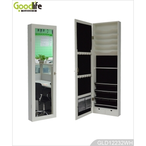 Over the door multiple functions mirrored jewelry cabinet GLD12232