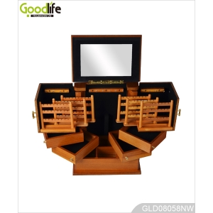 Painted wooden cosmetic and jewelry storage box GLD08058