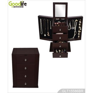 Painted wooden jewelry storage box with mirror GLD15586