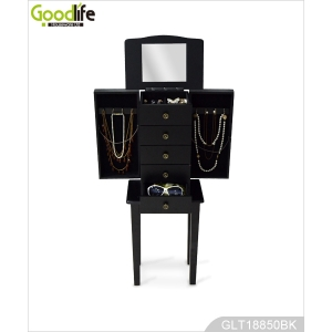 Painted wooden treasure cabinet small furniture for jewelry storage with stand GLD18850