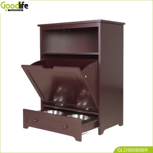 Pet food storage cabinet with feeding plate storage China supplier
