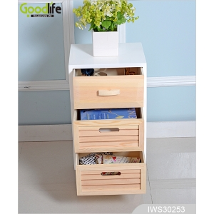 Pine wood natural color storage cabinet for bedroom and living room IWS30253