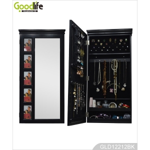 Popular wooden mirrored jewelry cabinet for jewelry holder with dressing mirror and 5 photo frames on the cabinet