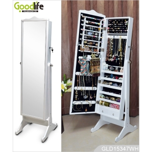 Professional full length mirrored wooden jewelry cabinet from Goodlife GLD15347