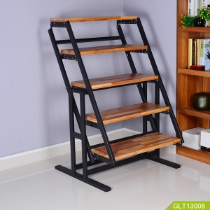Simple and convertable metal shelf to stick and fold easy for dining table and bookshelf