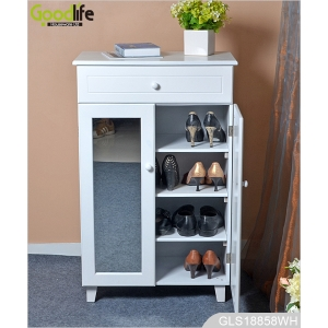 Solid wood furniture Amazon style wooden shoe storage cabinet with mirror and drawer GLS18858