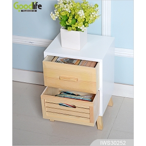 Solid wood natural color wooden drawer cabinet for bedroom IWS30252
