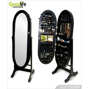 Standing Full Length Mirrored Oval Jewelry Cabinet GLD13320