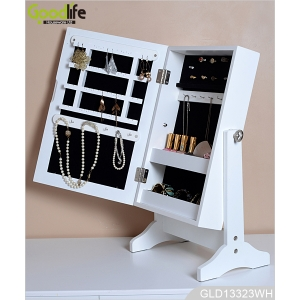 Standing on the table wooden jewelry and makeup cabinet with mirror GLD13323
