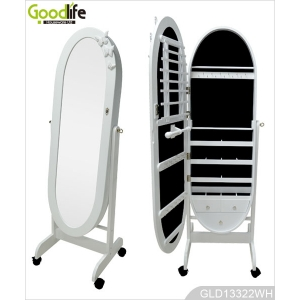 Standing oval wooden dressing mirror with jewelry storage cabinet with wheels GLD13322