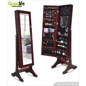 Standing wooden jewelry cabinet with full length mirror GLD13318