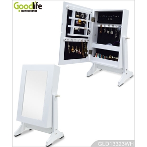 Table standing mirror jewelry cabinet with makeup mirror GLD13323
