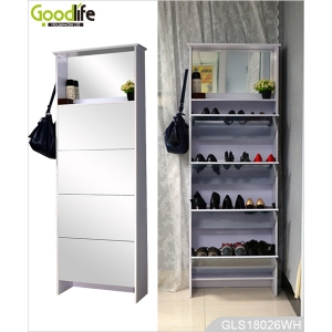 Tall people furniture wooden shoe storage cabinet with mirrors and hook