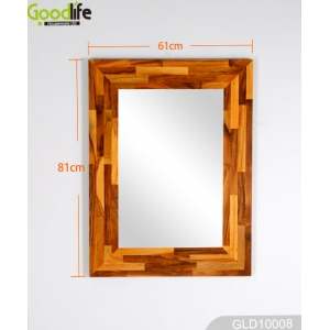 Teak wall mirror GLD10008