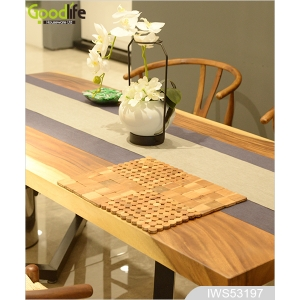 Teak wood door design  mat for bathing safety IWS53197