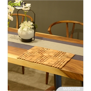 Teak wood door design  mat for bathing safety IWS53198