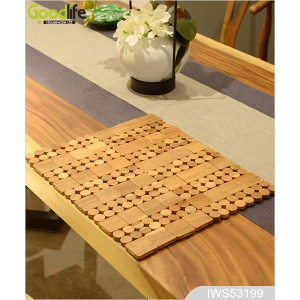 Teak wood door design  mat for bathing safety IWS53199