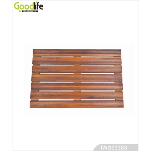 Teak wood door design  mat for bathing safety IWS53353