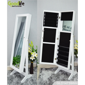 Three multiple functions wooden mirrored jewelry cabinet (freestanding, wall mounted or hanging over the door) GLD14739