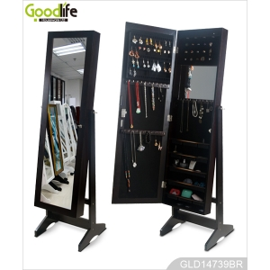 Unique style wooden mirror jewelry armoire with inside mirror
