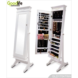 Victoria Standing Wooden Jewelry Storage Cabinet With Full Length Mirror GLD17047
