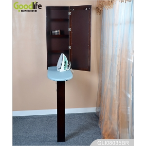 Wall Hanging Wooden Mirrored Fold Out Ironing Table in Cabinet GLI08035
