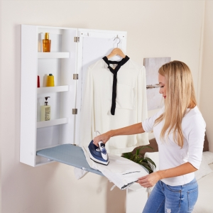 Wall Mount Ironing Board Cabinet with Mirror Folding Storage Cabinet Build In Ironing Board