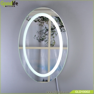 Wall hanging intelligent touch switch oval makeup mirror with light GLD10002